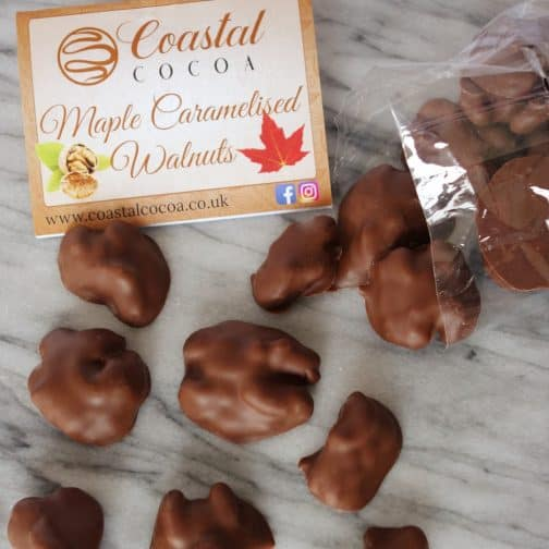 Maple Caramelised Walnuts in Milk Chocolate by Coastal Cocoa, Hastings, East Sussex