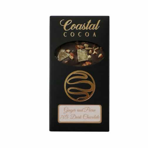 Ginger and Pecan Dark Chocolate Bar by Coastal Cocoa, Hastings, East Sussex