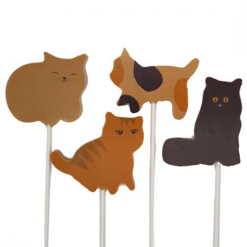 Caramel Cat Lollipop Family Chocolate by Coastal Cocoa, Hastings, East Sussex