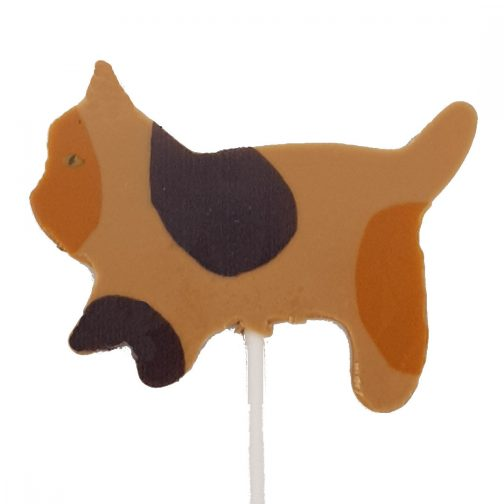 Calico Caramel Cat Lollipop Chocolate by Coastal Cocoa, Hastings, East Sussex