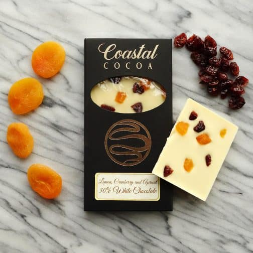 Lemon Apricot Cranberry White Chocolate Bar by Coastal Cocoa, Hastings, East Sussex