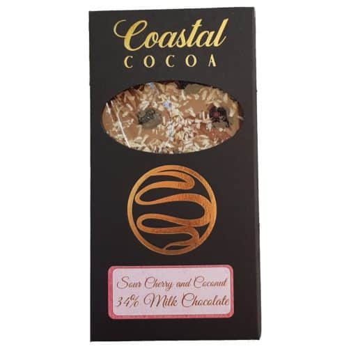 Cherry Coconut Milk Chocolate Bar by Coastal Cocoa, Hastings, East Sussex